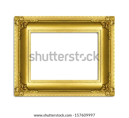 Antique gold frame isolated on the white background