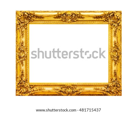 Antique gold wooden frame photo isolated on white background