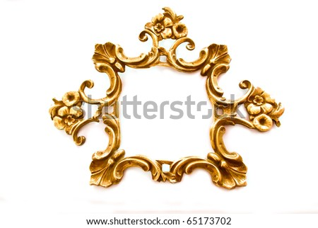 Antique golden frame with flowers and split isolated on white background