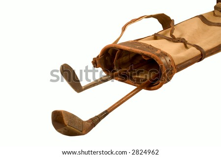 Antique Golf Clubs In A Old Golf Bag (With Clipping Path)