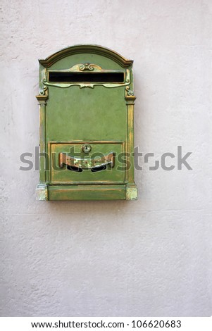 Antique Green Letter Box on the wall