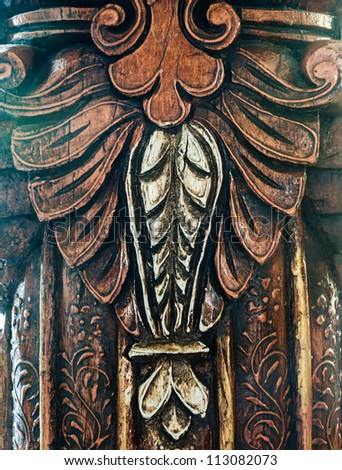 wooden carvings famous ancient wood carvings embekke temple stock photo 69449533