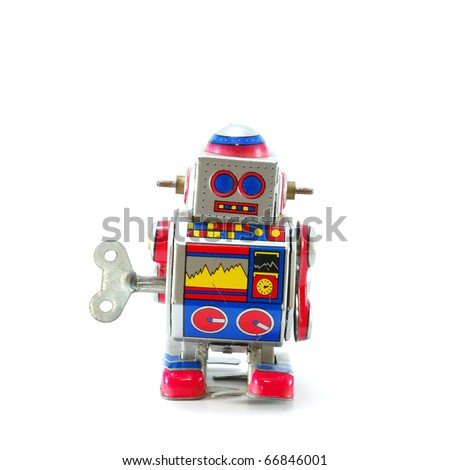 ANTIQUE MECHANICAL TOY ROBOT