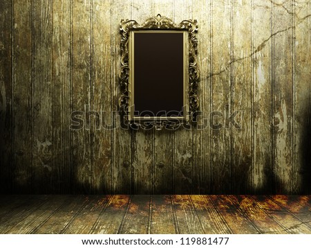 Antique Mirror In A Dark And Scary Room Stock Photo