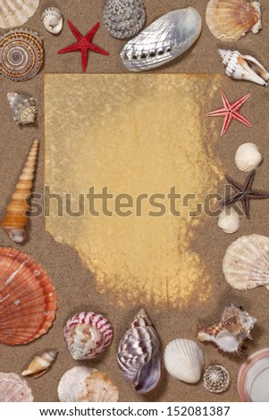 Antique paper with space for text on a background of sand and seashells.