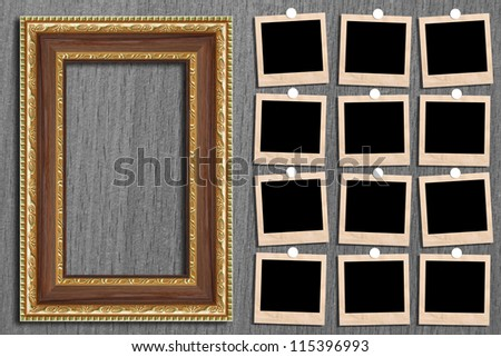 Antique picture frame on the wall. Area of the image.