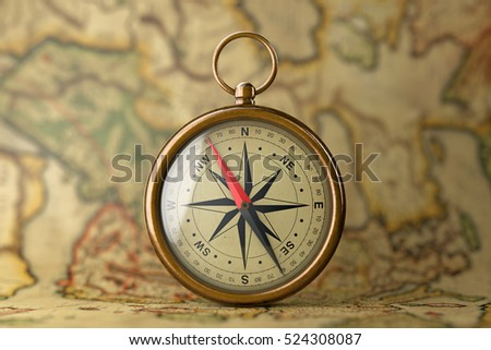 Antique Vintage Brass Compass on a Rare Map extreme closeup. 3d Rendering