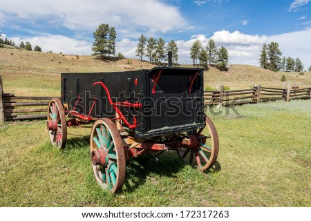 Antique Wagon in an Historic Ranch at Florissant Fossil Beds Nation Monument. Colorado, USA.