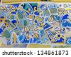 Antonio Gaudi mosaic work at Park Guell (1900-1914)- Barcelona - Spain. - stock photo