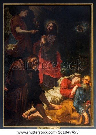 ANTWERP, BELGIUM - SEPTEMBER 5: Jesus in Gethsemane garden by David Teniers in St. Pauls church (Paulskerk) on September 5, 2013 in Antwerp, Belgium