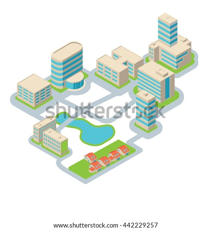 Apartment building. Isometric illustration. Electricity.