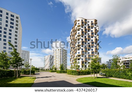 New construction property moving new apartment stock photo Modern residential towers
