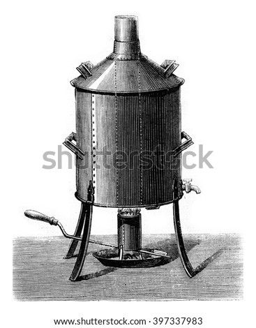 Apparatus for making beer, vintage engraved illustration. Magasin Pittoresque 1873.