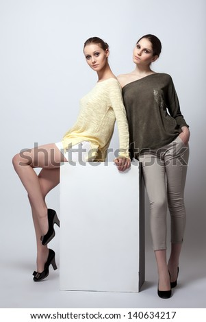 Appealing young models posing in studio