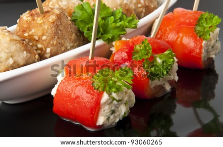 appetizer meatballs and sweet peppers with cream cheese