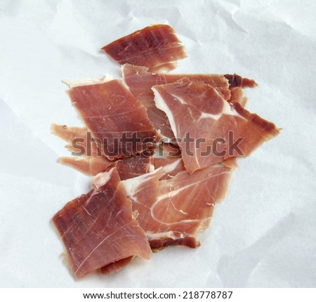 Appetizer of ham thinly sliced