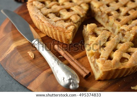Apple pie with cinnamon on the gray background