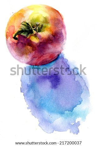 apple with shadow, watercolor, bright colors