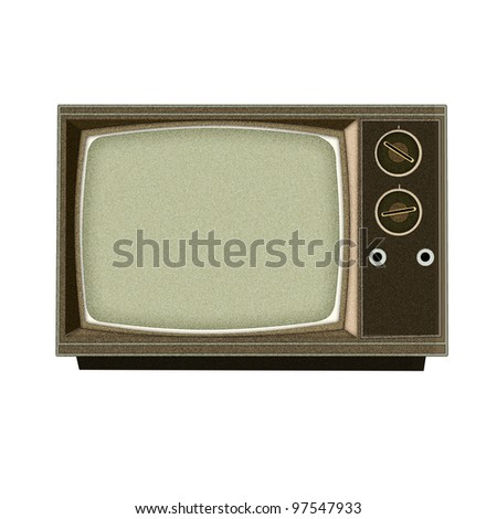 Applique' work in the form of vintage tv from a fabric, isolated on white background.
