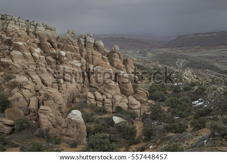 Approaching Storm on Red Sandstone Rock Formations in Arches National Park, Utah