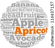 Apricot info-text graphics and arrangement concept on white background (word cloud) - stock photo