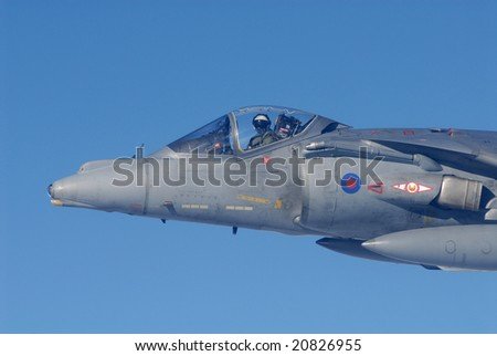 April 2008. Close up of Harrier GR.9 fighter bomber at altitude during work-up for deployment to Afghanistan.