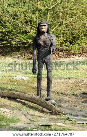 April 10, 2015 Prehistoric Park, Rivolta D' adda, Lombardy, Italy :Front View of Model of Proconsul Africanus, an Extinct Ape from Miocene Epoch, Standing Outdoors in Theme Park
