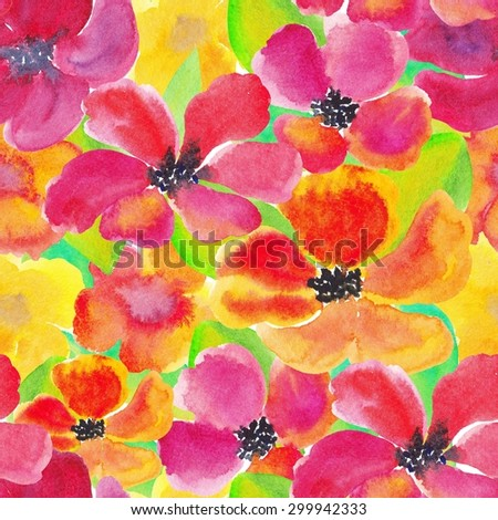Aquarelle watercolor seamless background  with colored flowers