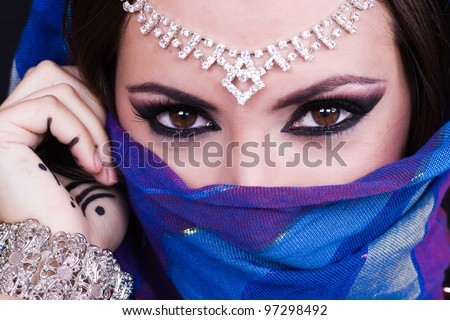 Arab woman. Beautiful creative makeup