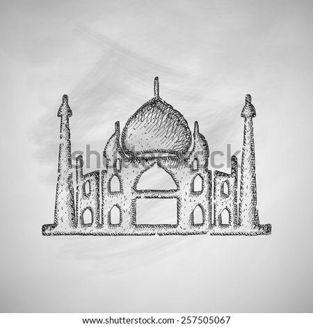Indian Famous Monuments Sketch Qutub Minar Stock Vector ... Qutub Minar Sketch For Kids
