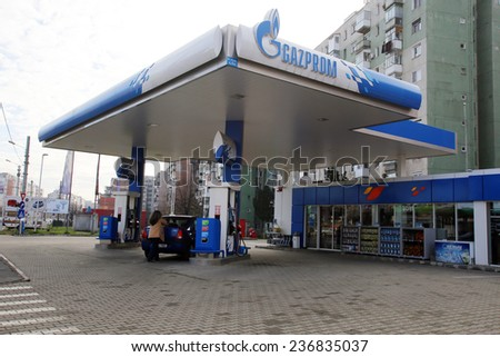 ARAD, ROMANIA - FRIDAY, DECEMBER 5, 2014: A Gazprom petrol station. The station is operated by NIS, a Gazprom Neft subsidiary (Naftna Industrija Srbije)