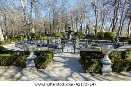 Aranjuez , Spain - March 13 , 2016: View of the statue in the garden of the Royal Palace of Aranjuez. The Royal Palace of Aranjuez is a residence of the King of Spain, located in the town of Aranjuez.