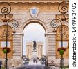 Arc de Triomphe and Chateau d'Eau palace - water tower in the end of aqueduct in Montpellier, France. - stock photo
