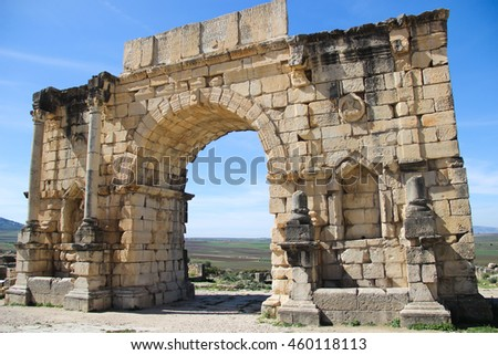 Arch in the Roman town of Volubilis, near the town of Moulay Idriss, Morocco