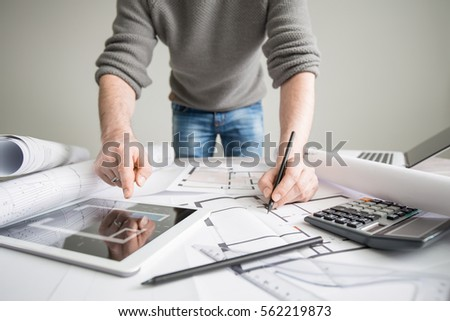 Architecture Drawing Table architects architect project interior design designer stock photo