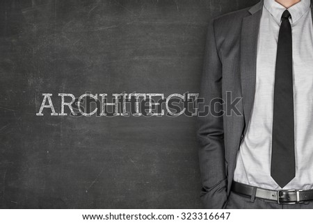 Architect on blackboard with businessman in a suit on side