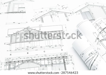 Stock Photo Architectural Blueprints And Construction Plans Rolls Of New Home 287546423 Loft Mockup On Top