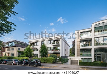 architectural buildings along alster canal hamburg stock