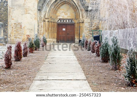 Architectural detail of Old Cistercian Church in Carta, Romania, Europe