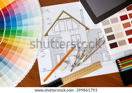 Architectural Facade Drawing Two Color Palette Stock Photo