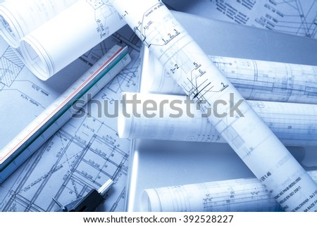Architectural plans, pencil and ruler