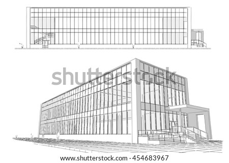 Architectural sketch. Idea. Drawing of building.