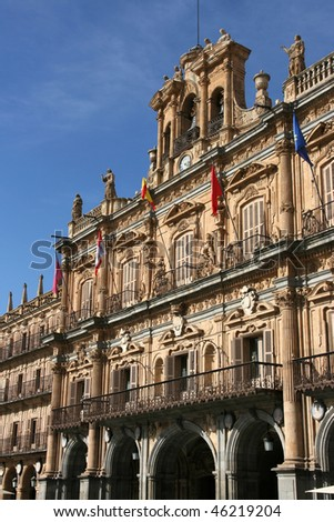 Architecture at Plaza Mayor - old town square in Salamanca, Castile, Spain