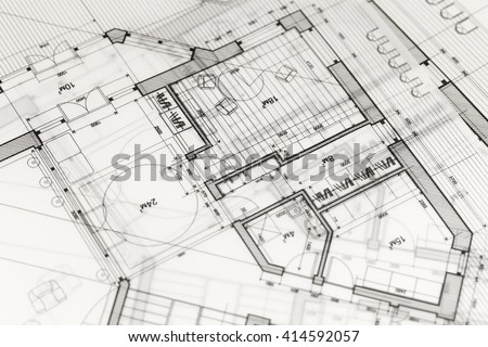 Architecture Blueprint House Plan Old Paper Stock Illustration