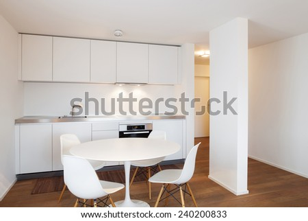 Architecture, comfortable apartment, white kitchen view