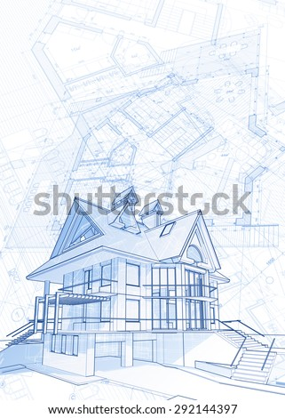 Stylized House Model Floor Plan Ruler Stock Illustration