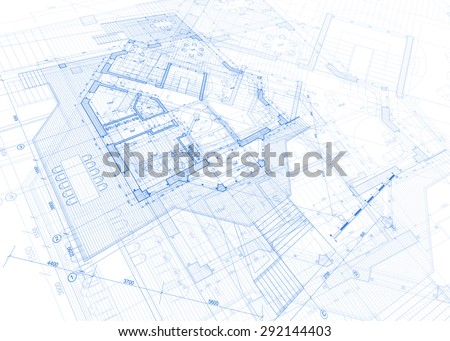 Architecture Design Blueprint Plans Vector Illustration Stock