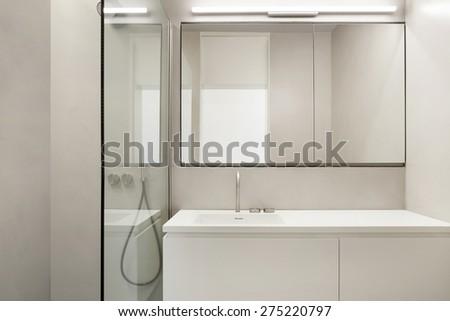 Empty Apartment Bathroom clean fresh bathroom natural light stock photo 559170985