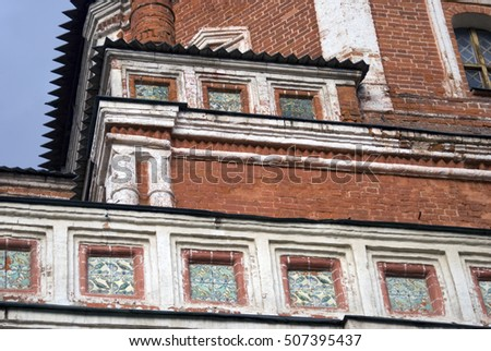 Architecture of Izmailovo in Moscow, historic place, Romanoff's dynasty manor. Popular landmark and place for walking. Color photo.
