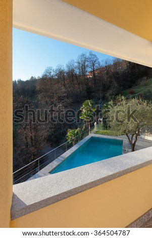 architecture, terrace with pool, view from the window